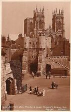 Postcard Rppc Bootham Bar Minster & Queen Margaret's Gateway York Uk