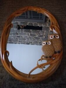 Round Oval Mirror Owl Wood Retro Brown Mod Vintage Mid Century Modern Mold Homco
