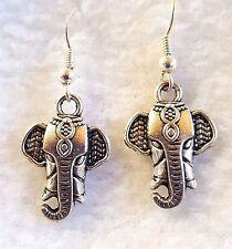 """Elephant Earrings Boho Hippie Gypsy Silver Tone Dangle Pierced Hook 1"""""""