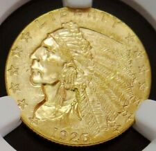 1926 GOLD US $2.5 INDIAN HEAD QUARTER EAGLE COIN NGC MINT STATE 63