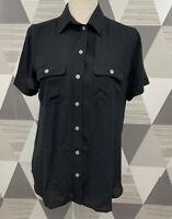 Ann Taylor LOFT Women's Size S Black Button Front Long Sleeve Top Shirt #16C37