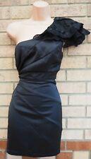LIPSY BLACK SATIN CROCHET RUFFLE ONE SHOULDER FRILL BODYCON PARTY DRESS 8 S