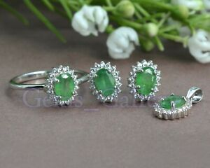 Natural  Zambian Emerald  925 Sterling Silver Ring Earring Pendent Jewelry Set