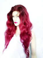 Human Hair Glueless Silk Top Remi Remy Full Lace Wig 24 in. T-Color Red IN STOCK