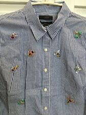 36 J. Crew Perfect Fit Bejeweled Insect Embellished Button Shirt Size 8 NWT Bees