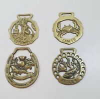 x4 Vintage Brass Horse Brasses Plaques Decorative Collectables Lot 6