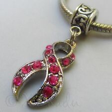 Pink Ribbon Breast Cancer Awareness Rhinestone Charm For European Charm Bracelet
