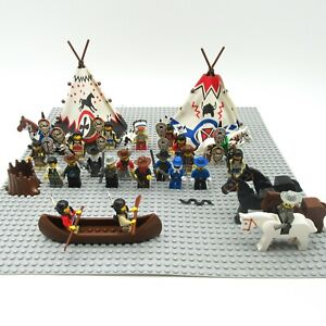 Lot Vintage Lego Western Cowboys and Indians Minifigures Horses Teepees Canoe