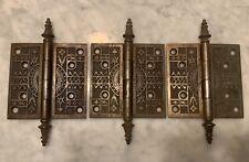 New listing 3 Lg 5 X 5 Original Gothic Victorian Steeple Hinges Eastlake 1880's Cast Iron