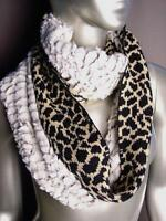 NEW WARM Black Beige Leopard Print Faux Fur Chinchilla Infinity Cowl Wrap Scarf