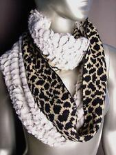 EXOTIC Brown Black Leopard Knit Faux Fur Chinchilla Infinity Cowl Neck Scarf