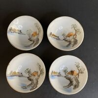4 1930s-1940s Red Made in Japan Sake Cup Gold Hand Painted Island Scene WWII
