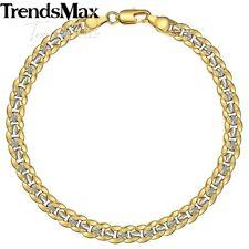 Curb Cuban Bracelet Women Men 8inch Silver&Yellow Gold Filled Chain Hammered Cut