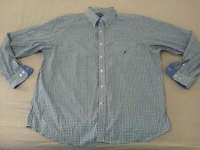 Mens Nautica Dress Shirt 2XL Green Button Cotton