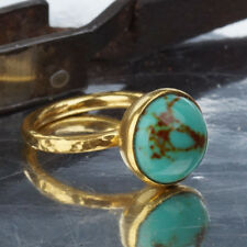 Sterling Silver Dome Turquoise Stacking Ring By Omer Handmade 24k Gold Plated