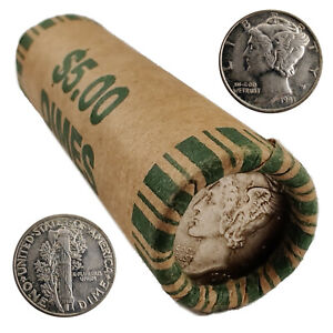 [Lot of 50] Unsearched Mercury Dimes (Roll) 90% Silver