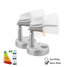 2X12V LED Frosted Glass Reading Wall Lamp Marine/Car/Trailer Spot Light Switched