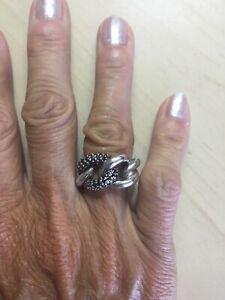 Genuine Swarovski Crystal Sterling Silver 925 Black Solid Link Ring Size 52
