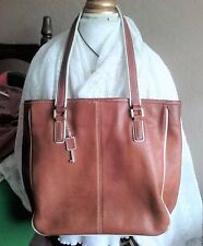 Women Tote Bag Fossil Brown Leather Write Trim Snap Button Closure