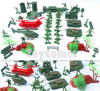 52 pcs Military Playset Toy Soldier Army Men Green 4cm Figures & Accessories