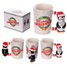 Christmas Ceramic Mug with Penguin  Shaped Handle