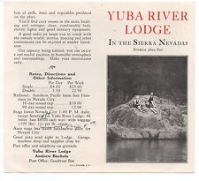 1920s Advertising Flier from the Yuba River Lodge Sierra Nevada
