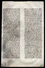Circa 17th Century Hand-Written Judaic  Manuscript Heavy Vellum Hebrew Torah