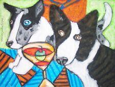 CARDIGAN WELSH CORGI Drinking a Martini Dog Pop Art Poster Print Signed by KSAMS