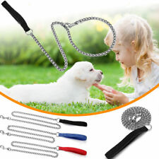 Pet Dog Leashes Iron Chain Cotton Handle Portable Anti Chewing Leash Ropes 120cm