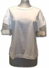 NEW, CHLOE WHITE T-SHIRT TOP WITH BUBBLE SEMI-SHEER SLEEVES, S, $325