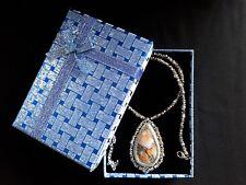 Halskette Anhänger Edelstein Achat Orang Silber Schmuck Handarbeit Geschenk