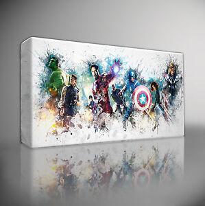 """Superhero Avengers Large Canvas Pictures 30/""""x20/"""" Marvel Paint Splash Painting"""