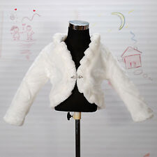 New Girls Ivory Faux Fur Long Sleeves Coat Bolero 3-4 Years