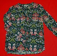 NEXT FLORAL, ROUND NECK  LONG SLEEVED SILKY BLOUSE:  UK SIZE 8 - WORN ONCE!