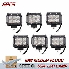 6PCS 18W Cree Led Work Light Bar Flood Lamp Off-road Driving Track Boat SUV Part