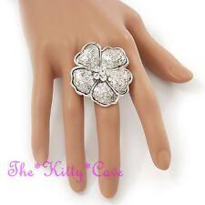 Silver Plt Pansy Poppy Flower Foral Statement Cocktail Ring w/ Swarovski Crystal