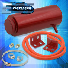 Universal Cylinder Radiator Overflow Coolant Cooling Tank Can Aluminum Red