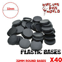 40PCS 32mm Plastic Round bases for Miniatures Figures wargames High Quality