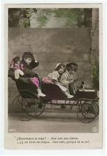 c 1908 Vintage Child Children PEDDLE CAR KIDS tinted photo postcard