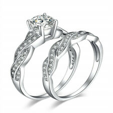 Exquisite Fashion couple silver double ring white zircon CZ Jewelry Ring Size 7