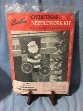 Vtg Bucilla Jeweled Beads Christmas Stocking Felt Applique Kit Santa and Bicycle