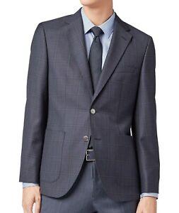 Hugo Boss Men's 'Janson6' Blue Slim Fit Wool Windowpane Sport Coat Blazer, 38R