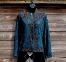 Coldwater Creek Gorgeous Green Lace Sequin Jacket Shirt Top Long Sleeve S