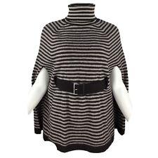 KAREN MILLEN 100% Pure Wool Brown Ivory Stripe Belted Poncho Cape Size 2 UK 10