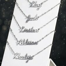 """Personalised Stainless Steel Your Custom Name Necklace Pendant 19"""" Chain"""