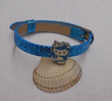 Leather like Hello Kitty kids childrens girls bracelet blue sparkly slide charm