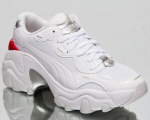 Puma Pulsar Wedge Tech Glam Women's White Silver Casual Lifestyle Sneakers Shoes