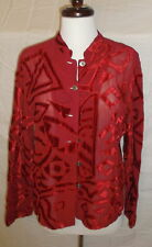 Chicos Blouse Topper Small Red Velvet Burnout Semi Sheer Size 0