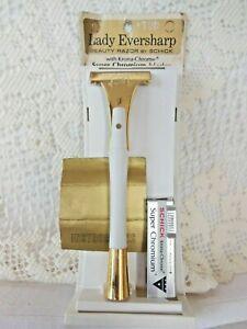 VINTAGE LADY EVERSHARP  RAZOR BY SCHICK ORIGINAL PACKAGE  White & Gold