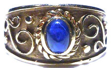 VIOR ITALY ITALIAN ETRUSCAN 14K YELLOW GOLD SCROLL WORK BLUE SAPPHIRE RING BAND